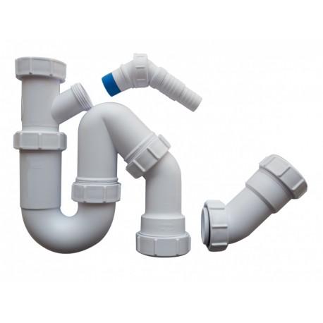 Siphon anti-bouchons - Tube articulé pour broyeur d'évier